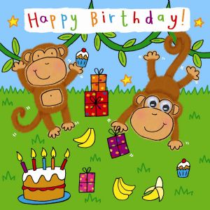 Childrens Birthday Card - Monkey